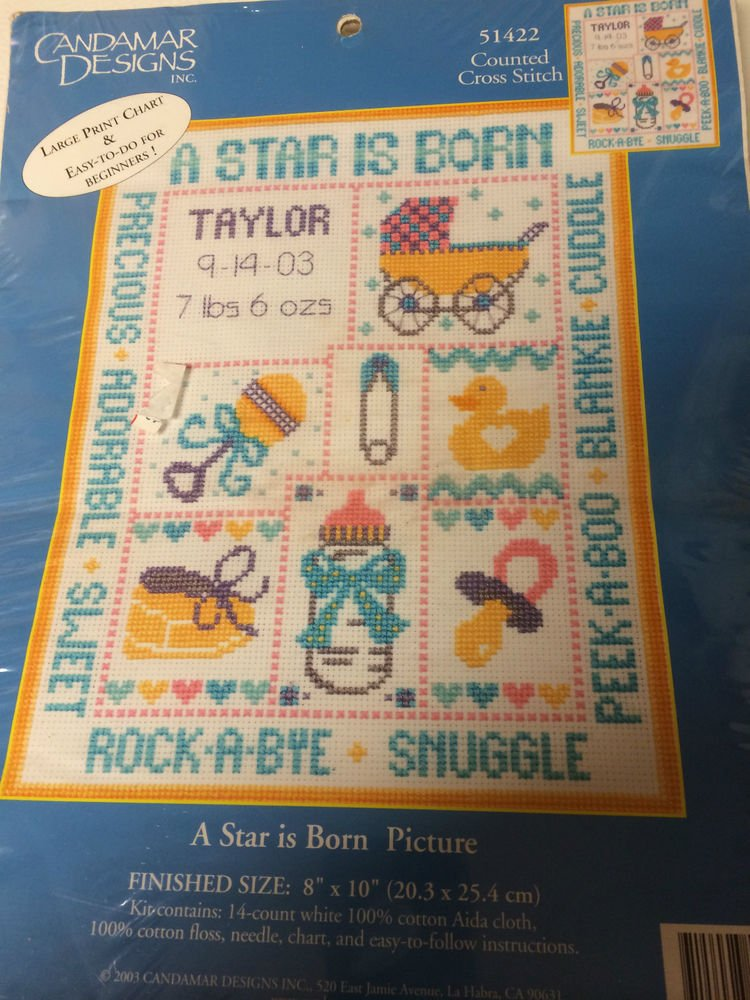 """""""A Star is Born"""" Counted Cross Stitch Pattern and 8x10"""" 14 Ct. White Aida Cloth"""