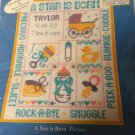 """A Star is Born"" Counted Cross Stitch Pattern and 8x10"" 14 Ct. White Aida Cloth"