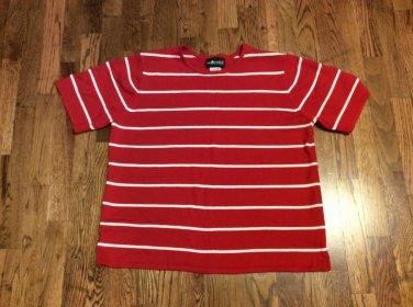 Women's Red & White Sag Harbor Woman S/S Round Neck  Sweater - 1x
