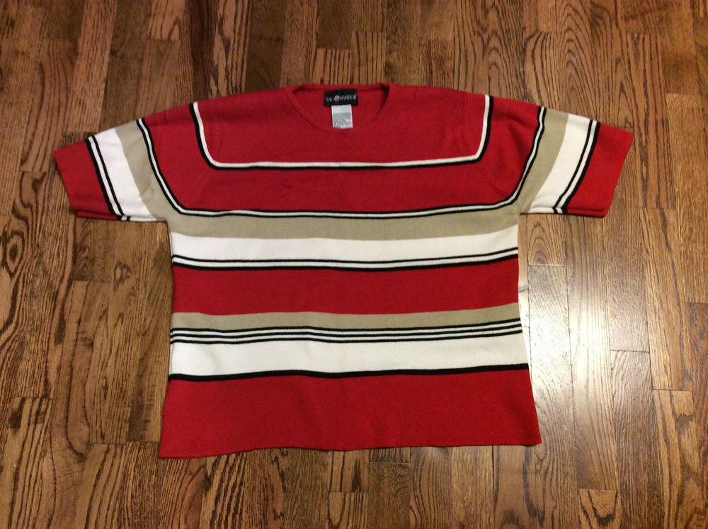 Women's Sag Harbor Short Sleeve  Round Neck Red Multi Color Sweater - XL