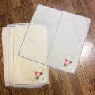 """12 Vintage Embroidered Hem Stitched 15x15"""" Napkins -Linen/Cotton/Damask??"""