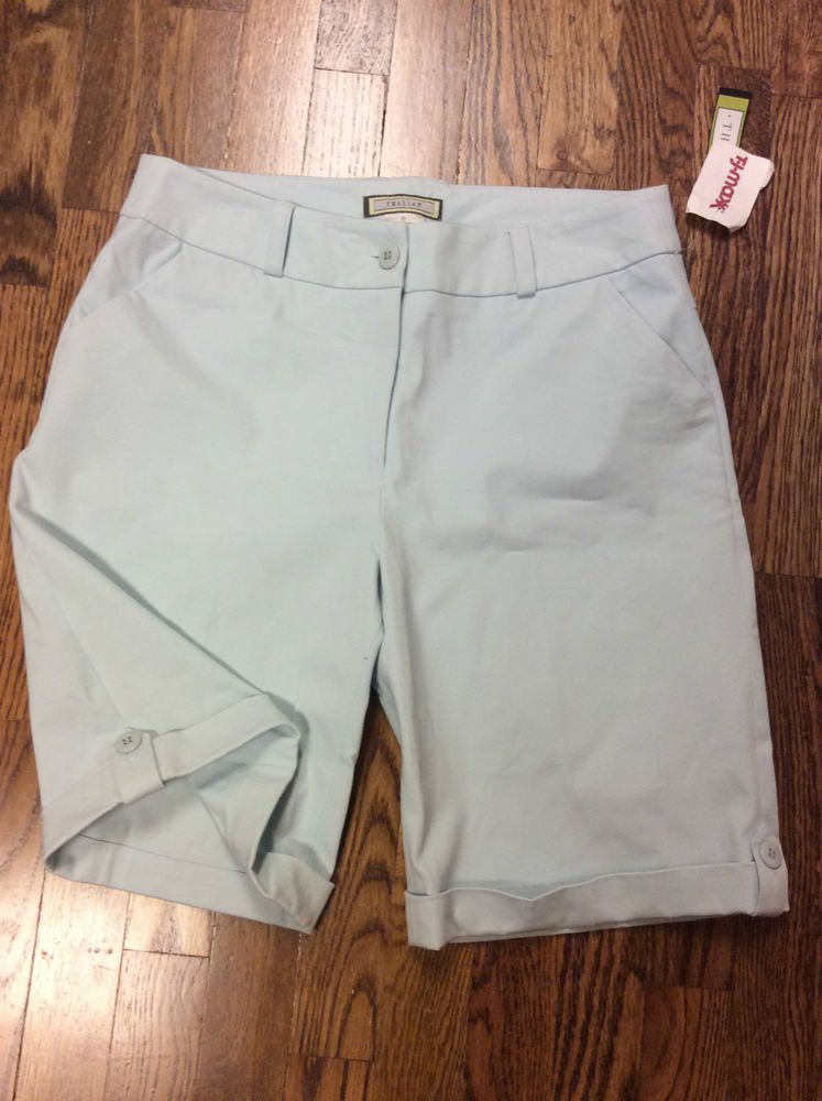 Thalian Frost Blue Cuffed Shorts - Size 10 - New with Tags - Stretch Comfort