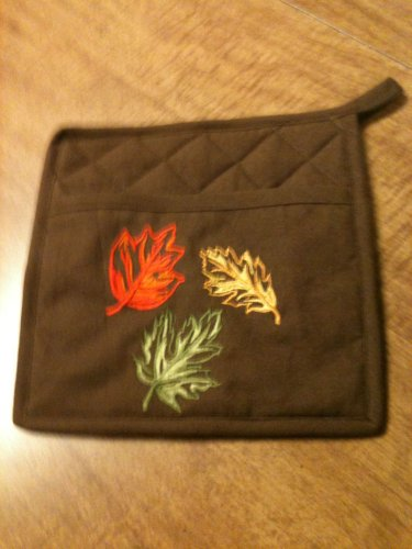 Oven Mit Pocket Pot Holder Mitt with Applique of Leaves