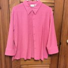 White Stag Textured Button Front 3/4 Sleeve Pink Top Blouse - Size Large EUC