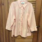 N Touch 3/4 Sleeve Button Front  Peach Blouse Top - Size L - EUC