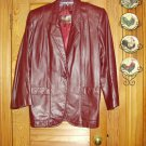 Etienne Aigner Burgundy Leather Blazer Coat Jacket Sz 8 MINT