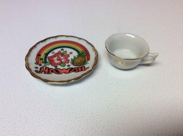 Hawaii Vintage Miniature/Collectible/Colorful  China Tea Cup & Saucer Souvenir
