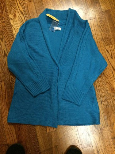 Kim Rogers Teal One Button Rolled Collar Cardigan Sweater, Jacket - S - NWT
