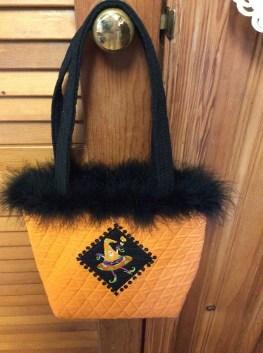 Halloween Orange w/Blk Fur Quilted Sequins Fun Party Work Travel Tote Bag Purse
