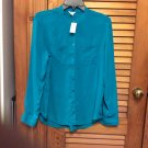 Aeropostale L/S Button Front Blouse Top Shirt NWT ($46.50) Turquoise/Green Size L