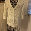Arizona Jeans XL (14/16) 3/4 Sleeve Button Cardigan V-Neck White Sweater