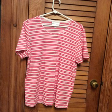 Rebecca Malone Red & White Stripe S/S Knit top L NWOT