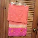 Segalini Luxury Italian Scarf Colorful Wrap Scarf 100% Polyester Pink Orange