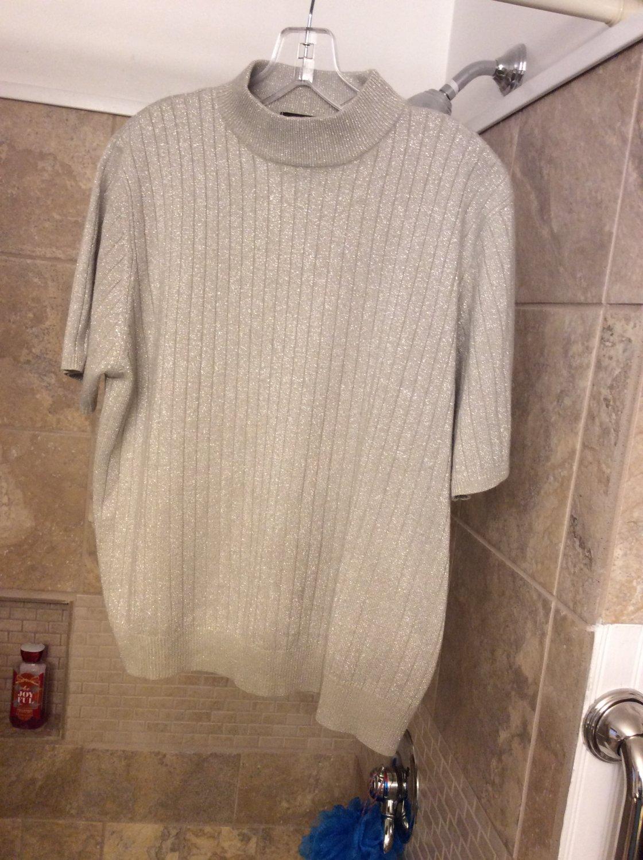 Sag Harbor S/S Mock Turtleneck Ribbed Sparkle Sweater XL