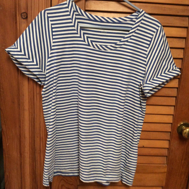 Womens Talbots Blue/White Stripe Top S/S XL