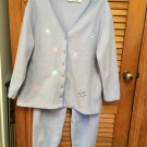 JIT SLEEP Lavender  Embroidered Pebble Fleece Womens Pajama Set Top Pants XL