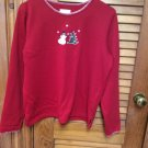 Ladies Christopher & Banks Red L/S Christmas Top sz M