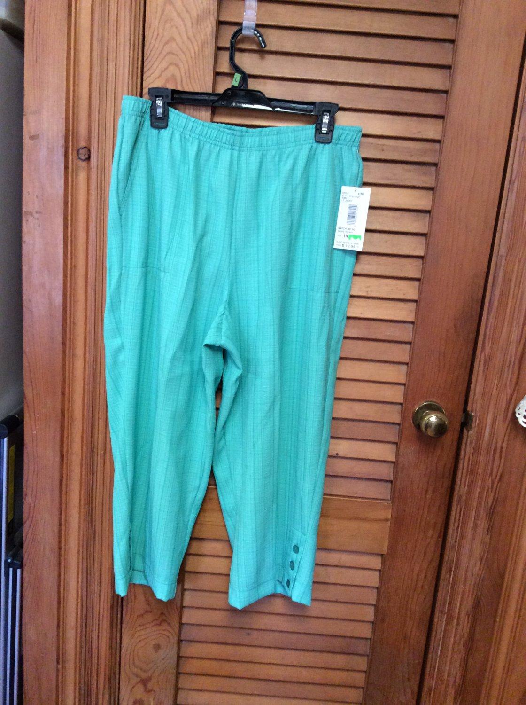Niki Womens Capris Cropped Pants Lt Jaded Basketweave SZ 14 NWT SRP $26