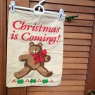 "2 -""Christmas is Coming"" Cotton Drawstring Gift/Decoration Bags 12.4"" x 16"""