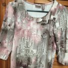 Chico's Gray/Pink/Brown Patterned Round Neck 3/4 Sleeve Top Size 0 (XS)