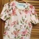 Alfred Dunner Ladies short sleeve sweater beaded flowers Peachy Pink  PL