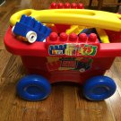 Mega Bloks Fill and Dump Play Go Pull Wagon Toddler Toy with 71  Building Blocks