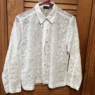 Chico's White Semi Sheer Long Sleeve Button Front Blouse Size 0