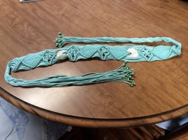 "Ladies Macrame & Shell Turquoise/Blue belt measuring 25"" between ties & 3"" Wide"