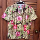 Sag Harbor Pink/Green Multi Floral Button Front Top Blouse Jacket Sz12