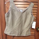 MIX Tahari Shell Top Blouse by Arthur S Levine Tan Beige Size 10 NWT