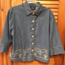 Original TY Wear Cotton Denim Embroidered Blue Jean Jacket Shirt Sz 16W