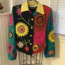 Anage Embellished Beaded Appliqued Flowers Multi Colored Jacket - M