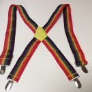 "Youth Clip-On Red/Yellow/Green/Purple Y Back Suspenders 1 1/2"" Wide NEW"