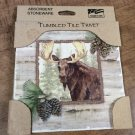 CounterArt Tumbled Tile Forrest Trails Moose Stoneware Trivet NIB
