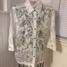 Choices Petite L/S Semi Sheer White Flowers Button Front Top Blouse PXL