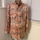 Ruby Rd. Shiny Metallic L/S Button Front Aztec Print Top Blouse Sz 16