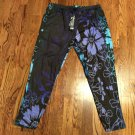 NWT LILY By Firmiana Leggings Plus Size 1X/2X Black & Purple Floral