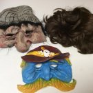 Lot of 2 Halloween Old Man, Sheriff Masks, 1 Brown Wig