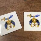 "Set of two Masons Masonic Shriners 6x6"" Ceramic Hanging Tiles"