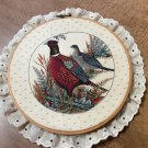 Vintage Partridge & Hen Birds in Hoop surrounded by Lace Trim -Hand Crafted ??
