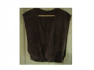 Vintage Dark Grey Suede V-Neck Vest