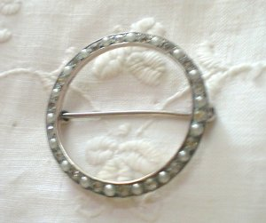 Vintage Round Pin- Sterling Silver w Seed pearls and diamonds.