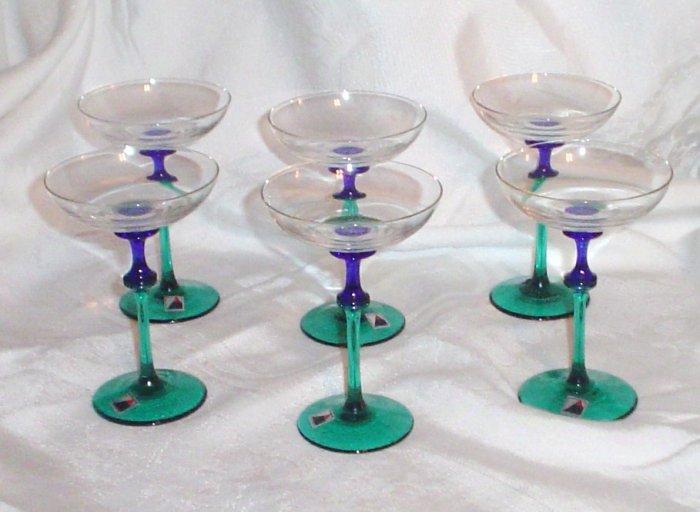 Party Mini Martini Dessert Czech Handblown Glasses 6