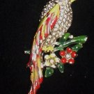 Vintage Rhinestone Parrot Sweater/ fur clip