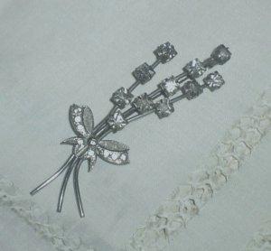 Vintage Crystal Flower & Bow Brooch