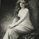 "Antique French Print 1901 Nude Young Lady  ""Solitude"" by Braun Clement & Cie"