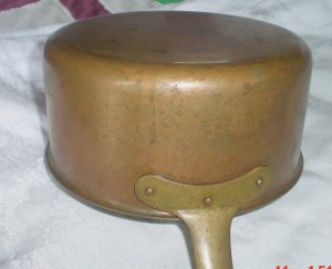 SOLD  Vintage Copper Pot w/ Brass Handle