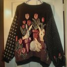 Spring & Easter Rabbits & Tulips Women&#39;s Green Tapestry  Sweater / Jumper