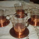 Coffee Demi-tasse Copper & Glass  Cups w/ saucers. (4)