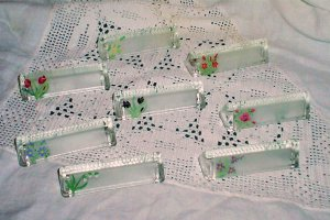 Afternoon Tea Glass Name Plates w/ handpainted flowers (8)
